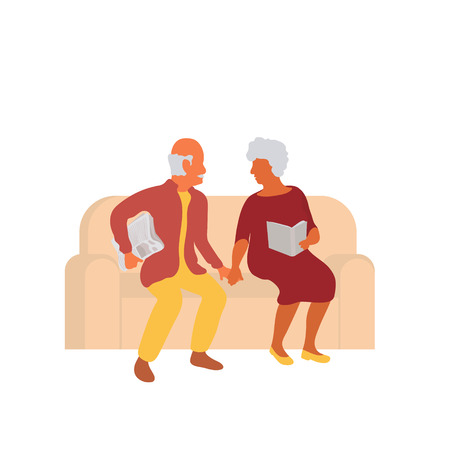 Senior couple sitting together on couch and holding hands. Elderly married retired old man and woman on sofa home spending time together. Vector flat characters isolated on white background in EPS 10