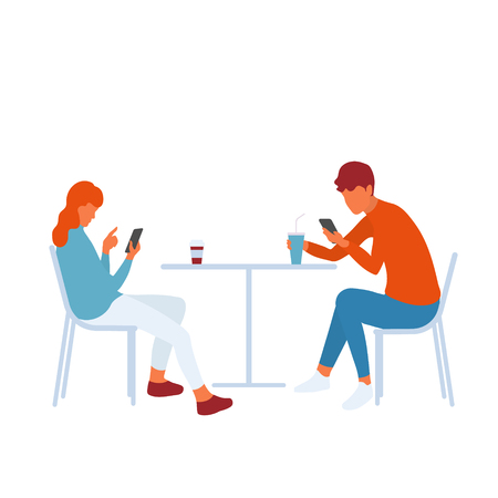 Modern teenage friends or couple using smartphones and getting distracted from real communication by social media. Young people sitting together. Vector flat characters isolated on white background