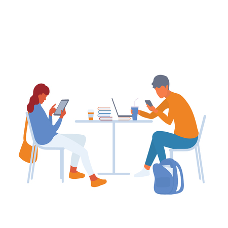 Modern students using gadgets to gather information or getting distracted by social media. Teenage girl and boy studying together. Vector flat characters isolated on white background in EPS 10 Illustration