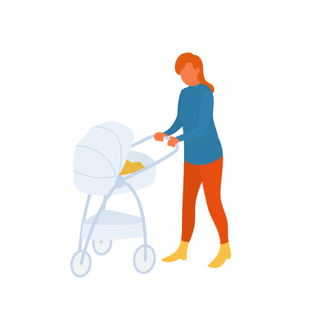 Mother with baby in a stroller on the walk on fresh air. Woman with infant child in a pram walking in a park. Vector flat character in EPS 10 Illustration