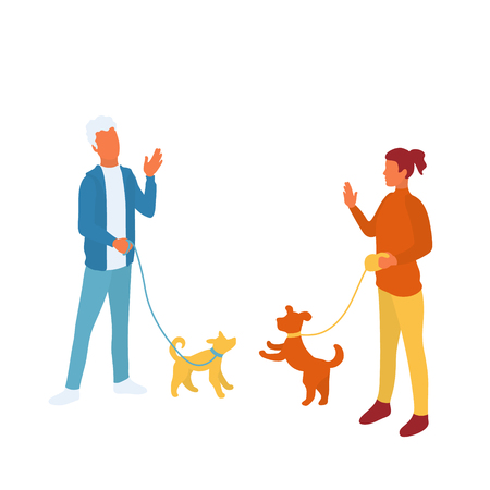 Two dog owners walking their pets and greeting each other. Man and woman waving to each other while their dogs meet in the park or on the street. Isolated on white background vector flat characters