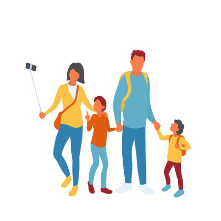 Modern family of four taking group photo using selfie stick. Mother father and two kids siteseeing traveling together or on walk in the park or mall. Isolated on white background vector characters