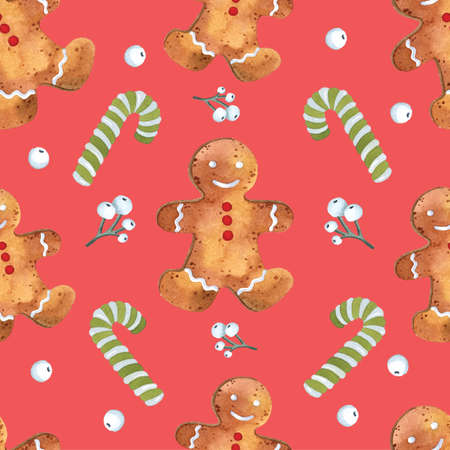 Funny tasty Christmas seamless pattern gingerbread man candy cane on red background