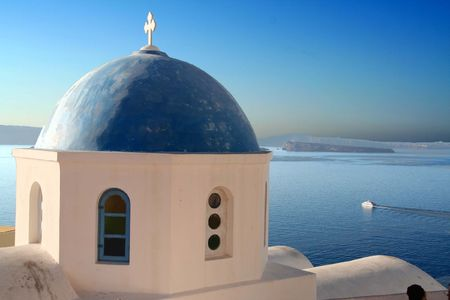 santorini churche Stock Photo
