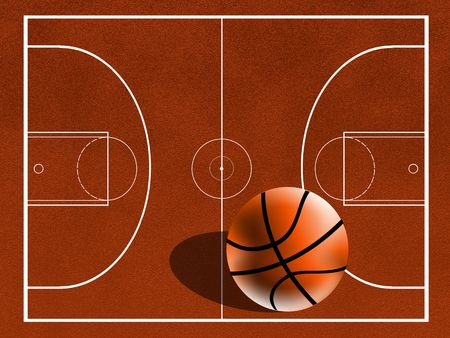 center court: basketball field Stock Photo