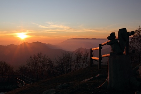sunset in mountain photo