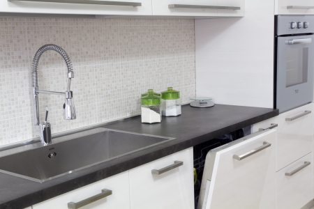 faucets: white kitchen Stock Photo