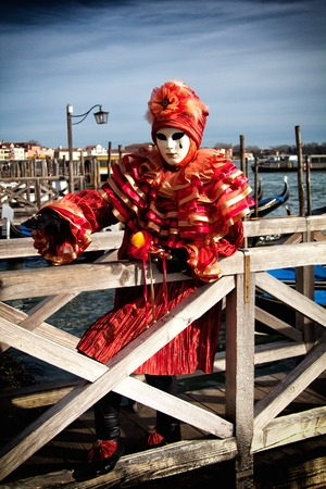 Una vista di una maschera di carnevale di Venezia