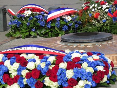 commemorative: a detail of commemorative flowers