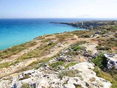 egadi: a view of the Favignana beach Sicily,Italy Stock Photo