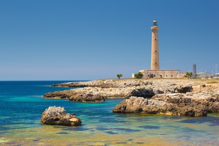lighthouse at night: a view of the Favignana lighthouse Sicily,Italy