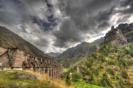 ice dam: a view of Gleno dam,Italy