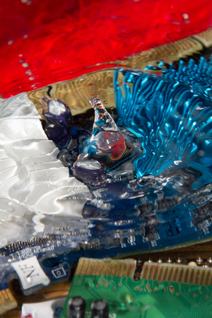 electronic component and drop water Stock Photo