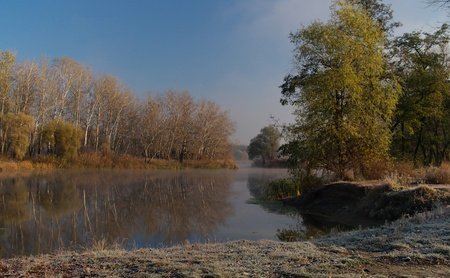 autumn landscape of river  photo