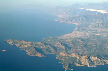 Aerial view mountain and sea, Turkey