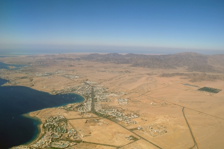 sharm el sheikh and red sea with corals from above  photo