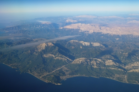 Aerial view mountains and Mediterranean Sea,Turkey  photo