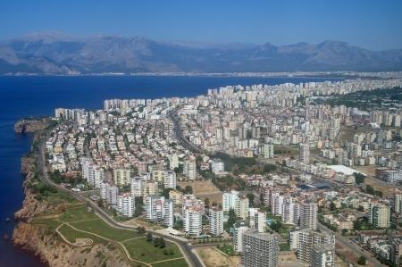 bird 's eye view: Air photo of Antaly city in Turkey   Stock Photo