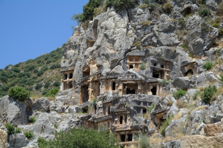 Historical tombs in the mountains near Myra town  Turkey