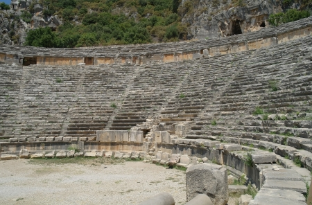Ancient amphitheater in Myra, Turkey  Stock Photo