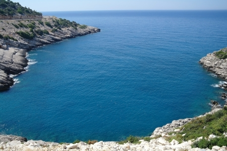 ocean fishing: Rock and Mediterranean sea in Turkey