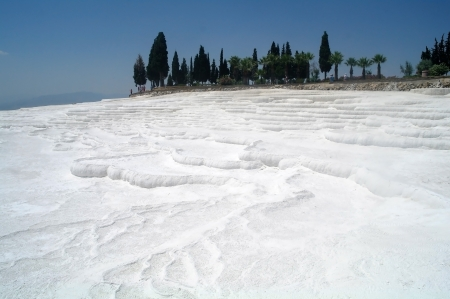 pamuk: Carbonate travertines terraces in Pamukkale, Turkey