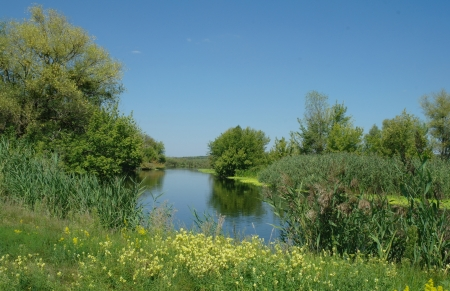 View on the river , spring .Ukraine. Stock Photo