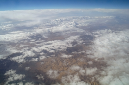 sky view of cloudscape and earth Stock Photo