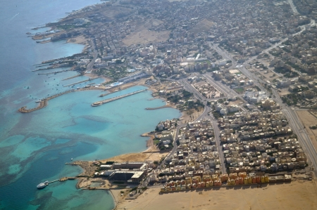 Hurghada town on Red Sea from air view photo