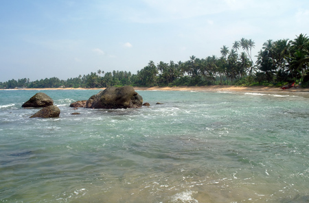 pristine coral reef: Tropical paradise idyllic coast. Stock Photo