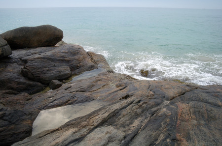 Waves and rocks on the Ocean from above., Sri Lanka photo