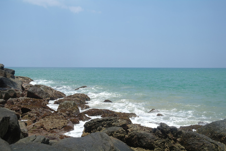 Waves and rocks on the Ocean in Sri Lanka photo
