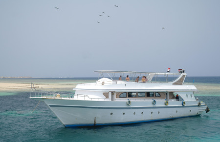 exotism: The yacht in the Red Sea. Egypt.
