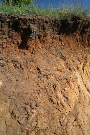 under ground: Details of layers of soil under ground