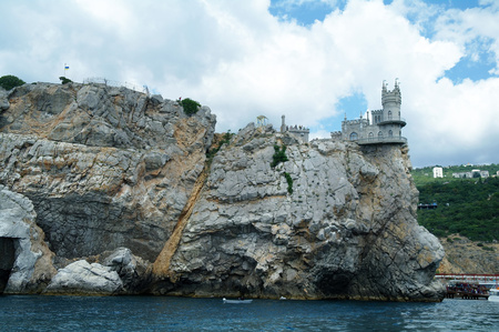 Swallows Nest is a decorative castle the monument of architecture and history, the main attraction on the shores of the Black sea of the city Yalta, Ukraine. Editorial