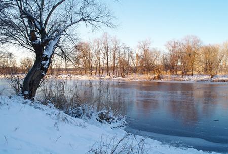 frozen river: Winter on the frozen river.