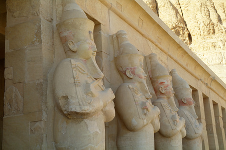 Guardians at the Temple of Queen Hatshepsut, Egypt. Stock Photo