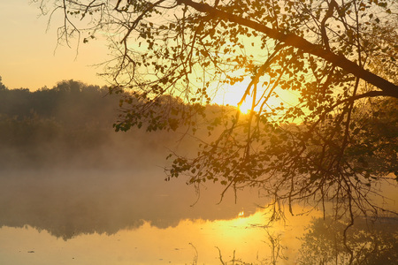 Landscape with river at early morning time. Stock Photo