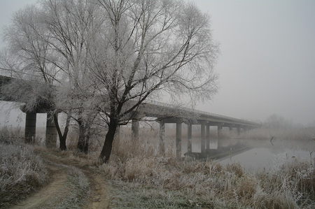 bridge over the river in winter season.