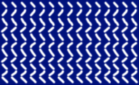 Abstract pattern of short smooth white lines symmetrically arranged on a blue background, illustration.