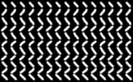 Abstract pattern of short smooth white lines symmetrically arranged on a black background, illustration.