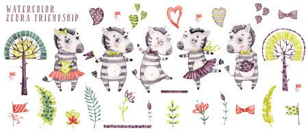 Cute watercolor cartoon zebra collection Stockfoto