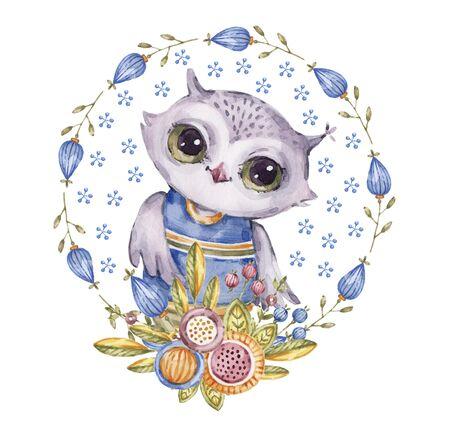 Cute aquarelle owl in circle flower wreath