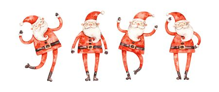Nursery watercolor santa claus set, cute childish style, naive cartoon design, elements isolated on white background. Merry christmas and happy new year aqarelle collection Archivio Fotografico - 135499055