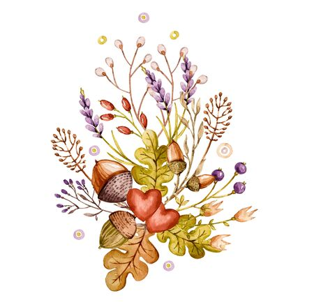 Watercolor bouquet with oak leaves lavender acorns, great design for any purposes. Delicate handpainted floral background. Isolated spring illustration Spring summer wedding background Romantic design