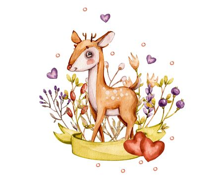 Cute baby deer animal and flowers nursery isolated illustration for children, boy, girl, kids. Watercolor boho forest drawing, watercolour image Perfect for nursery posters. Template invitation cards 免版税图像