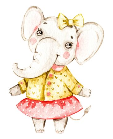 Cute baby girl elephant nursery animal isolated illustration for children. Bohemian watercolor boho forest elephant in clothes watercolour image. Perfect for nursery posters, patterns. Birthday invite 免版税图像