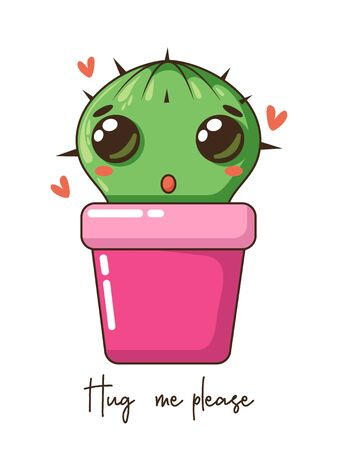 Cute baby cartoon cactus with funny kawaii faces in pots. Vector nursery illustration. can be used for cards, invitations or like sticker. Kawaii girl design. Isolated vector illustration.