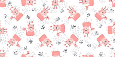 Seamless nursery cat pattern with cute colorful Kittens. Creative scandinavian childish white and pink texture. Great for fabric, textile Vector Illustration