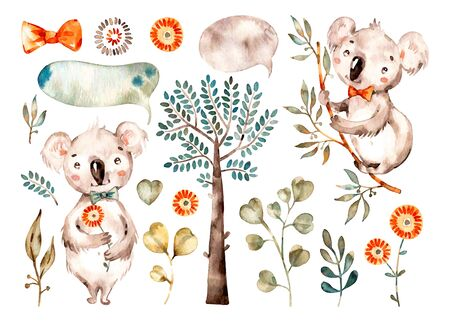Baby süßer Koala. Aquarell Kindergarten Cartoon australische Tiere, tropische Bäume, Blätter. Entzückender Baumschulentiersatz lokalisiert auf weißem Hintergrund. Handgemalte Aquarell Baby Koala ClipArt